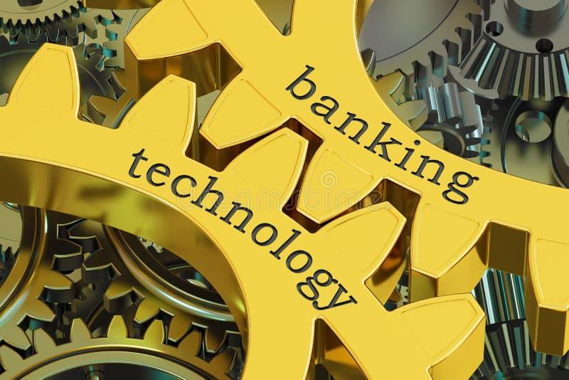 Bankowości technologii pojęcie na gearwheels, 3D rendering ilustracja wektor