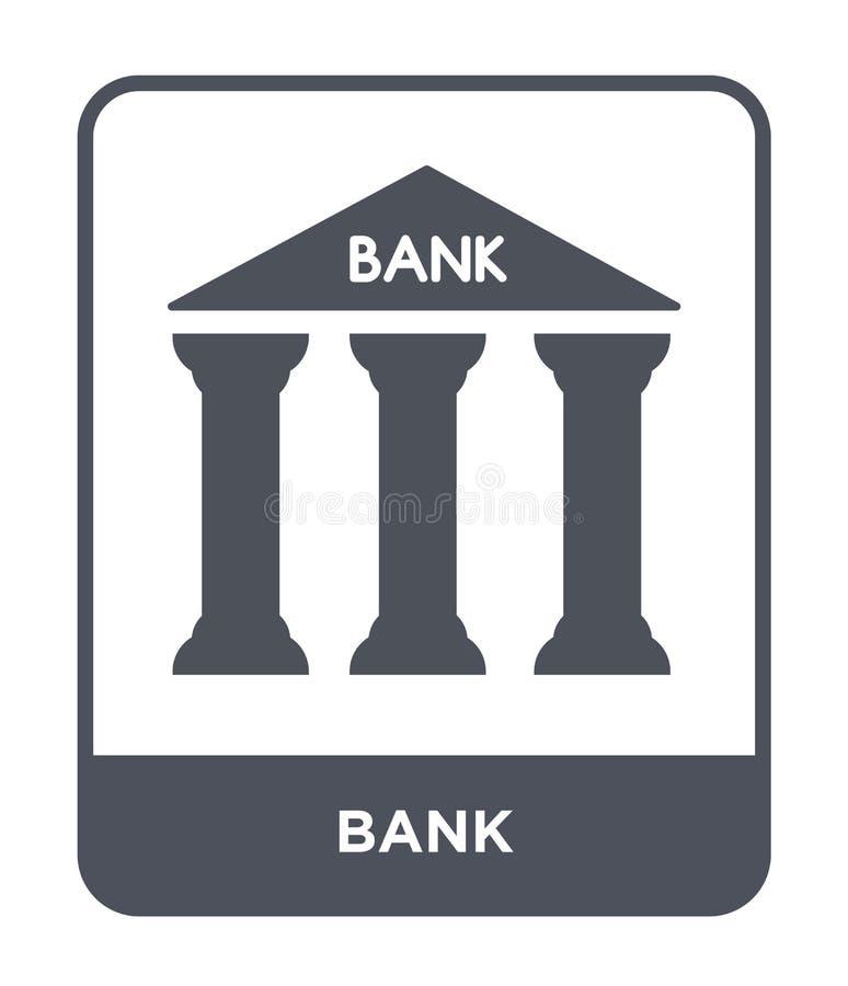 bankpictogram in in ontwerpstijl Bankpictogram op witte achtergrond wordt geïsoleerd die eenvoudige en moderne vlakke symbool van vector illustratie