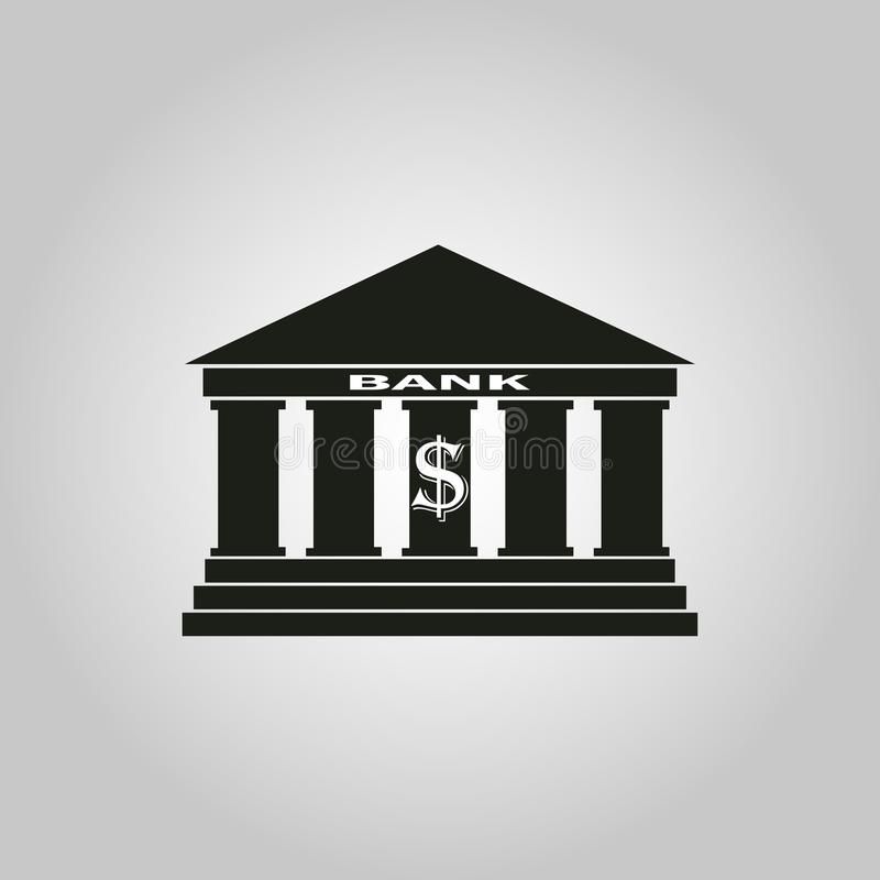 Bankpictogram van zwarte op een grijze achtergrond wordt gekleurd die royalty-vrije illustratie