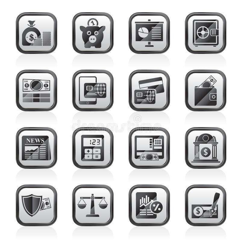 Bankrörelse- och finansiell rådgivningsymboler vektor illustrationer