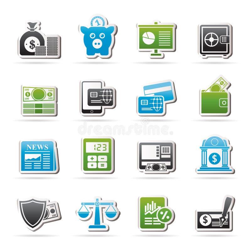 Bankrörelse- och finansiell rådgivningsymboler royaltyfri illustrationer