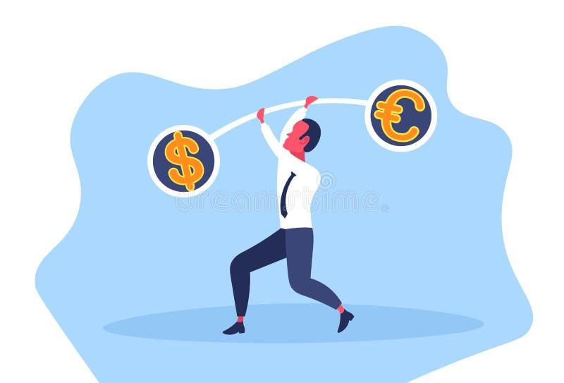 Bankrörelsen för euro för dollar för jämförelse för valuta för våg för jämvikt för affärsmaninnehavvikter finansierar affärsidést vektor illustrationer
