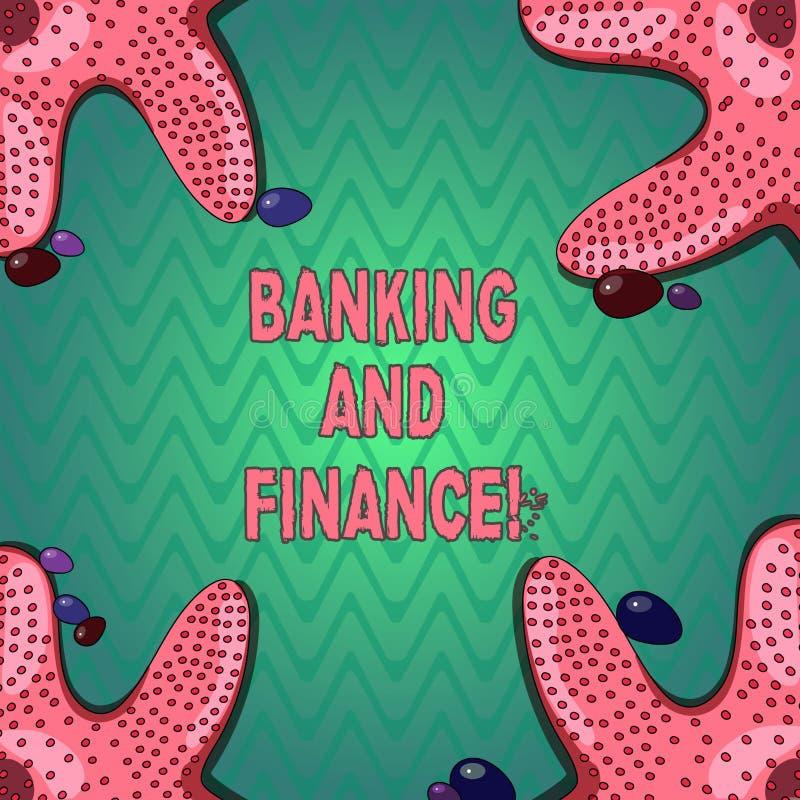 Bankrörelsen och finans för handskrifttexthandstil Begrepp som betyder institutioner som ger variation av finansiell rådgivning stock illustrationer