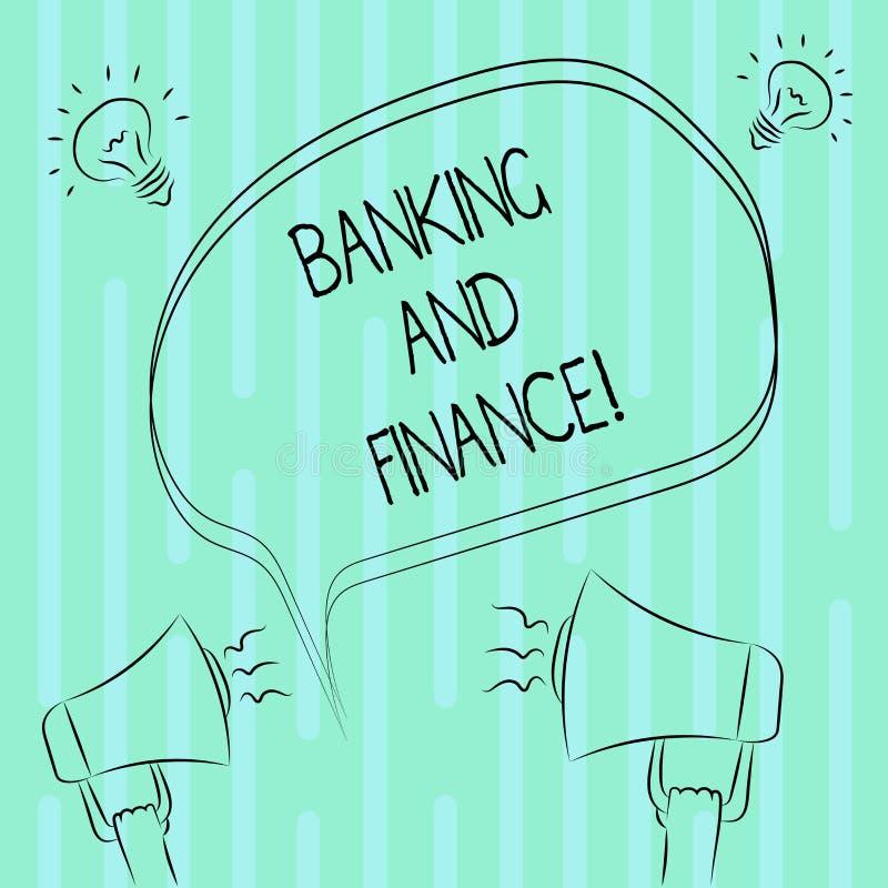 Bankrörelsen och finans för ordhandstiltext Affärsidé för institutioner som ger variation av finansiell rådgivning stock illustrationer