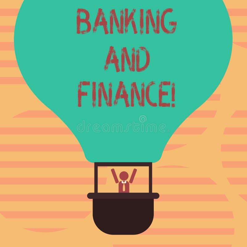 Bankrörelsen och finans för ordhandstiltext Affärsidé för institutioner som ger variation av finansiell rådgivning Hu royaltyfri illustrationer