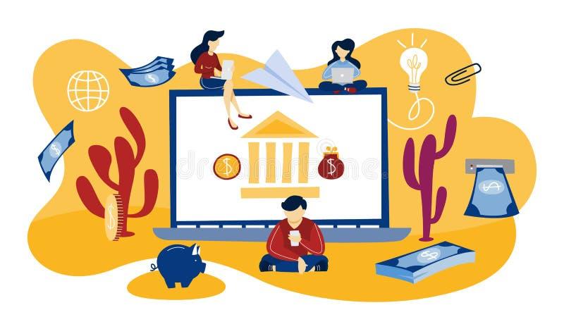bankrörelset på burk online-problem för datorbegreppskostnader etc Framställning av digitala finansiella operationer stock illustrationer