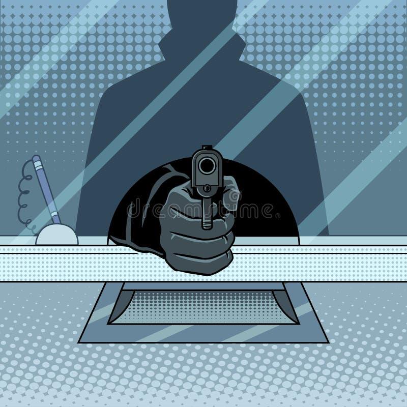 Bankraub mit Gewehrpop-arten-Vektorillustration lizenzfreie abbildung
