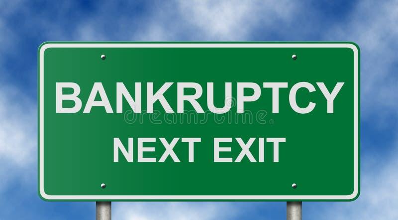 Bankrott-folgendes Ausgangs-Zeichen lizenzfreies stockbild