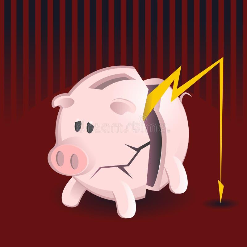 Bankrott-Piggy Querneigungen vektor abbildung