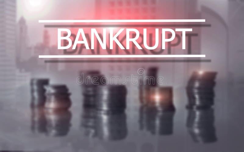 Bankrottes Konzept Die Aufschrift auf dem virtuellen Schirm: Bankrott lizenzfreies stockfoto