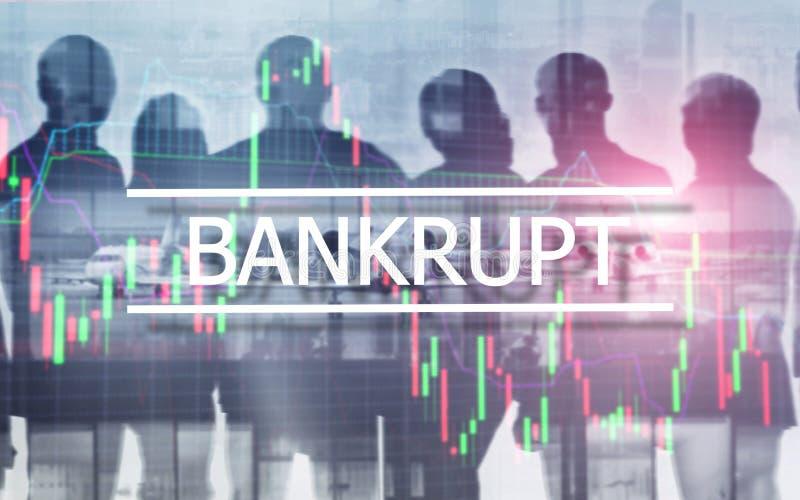 Bankrottes Konzept Die Aufschrift auf dem virtuellen Schirm: Bankrott stockfotos
