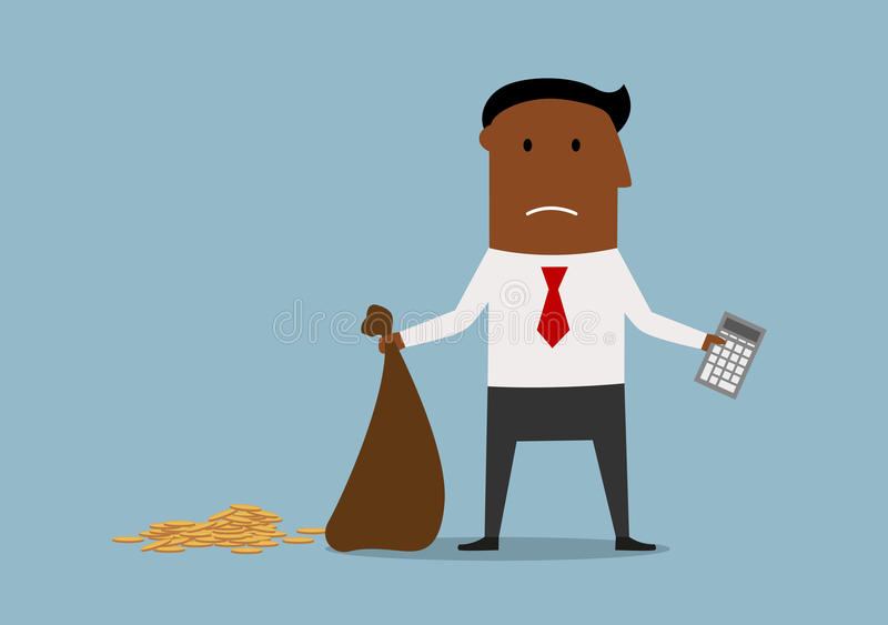 Bankrupt businessman with empty money bag. Depressed african american bankrupt businessman standing with calculator and empty money bag in hands, for financial vector illustration