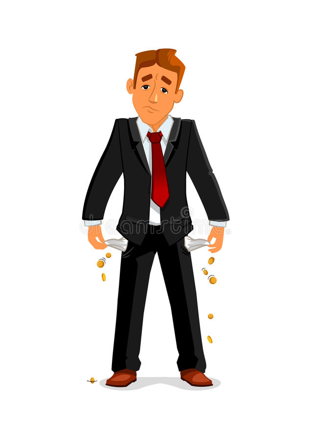 Bankrupt businessman with empty pockets. Frustrated broke businessman turns out his empty pockets. Sad bankrupt businessman has no money after financial failure stock illustration