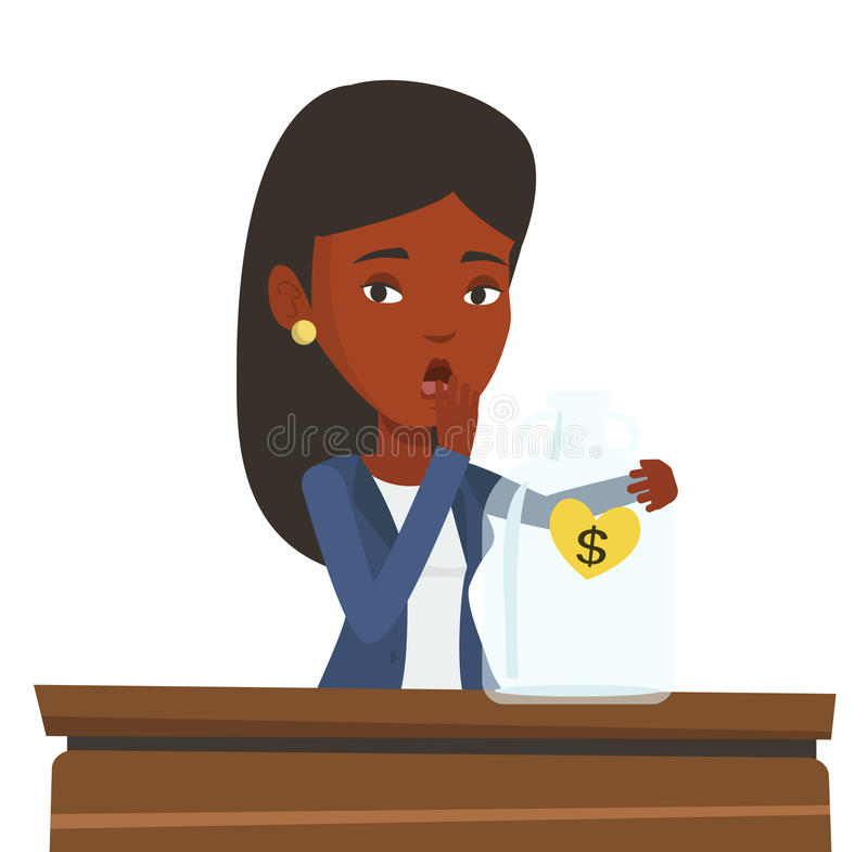 Bankrupt businesswoman looking at empty glass jar. Bankrupt business woman looking at empty money box. Desperate bankrupt sitting at the table with empty money royalty free illustration