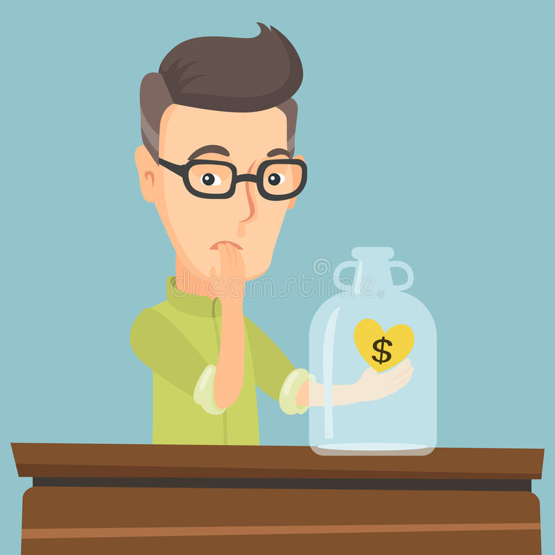 Bankrupt man looking at empty money box. Worried business bankrupt looking at empty money box with dollar sign. Desperate bankrupt sitting at the table with royalty free illustration