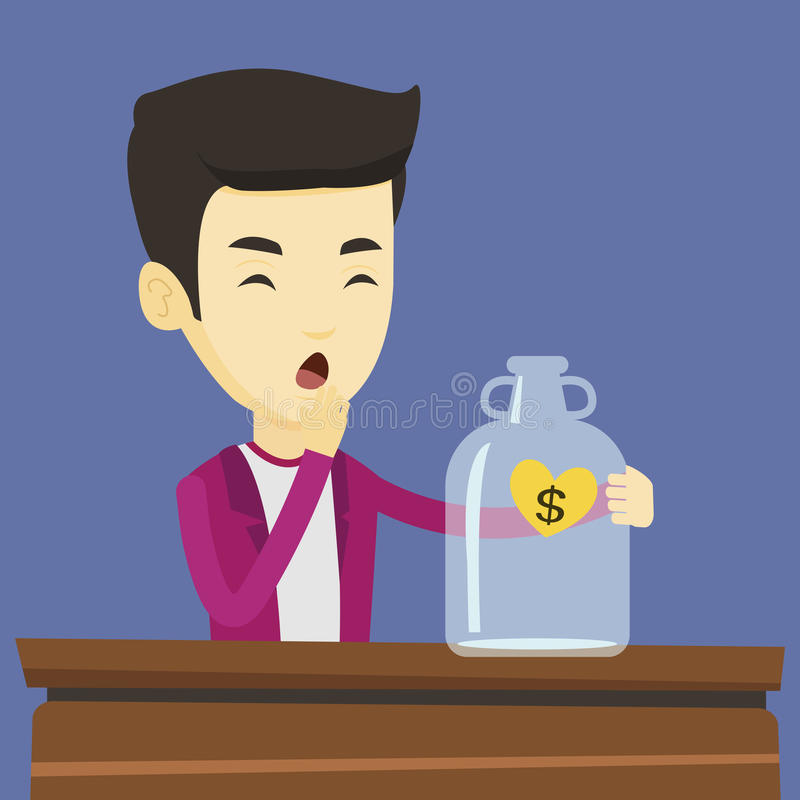 Bankrupt man looking at empty money box. Worried business bankrupt looking at empty money box with dollar sign. Desperate bankrupt sitting at the table with vector illustration