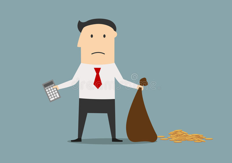Bankrupt manager with calculator and empty bag. Unhappy businessman declaring bankruptcy and showing empty bag and calculator. Bankruptcy, financial crisis or stock illustration