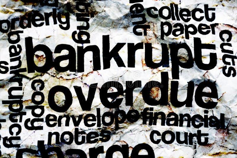 Bankrupt overdue concept. Close up of Bankrupt overdue concept royalty free illustration