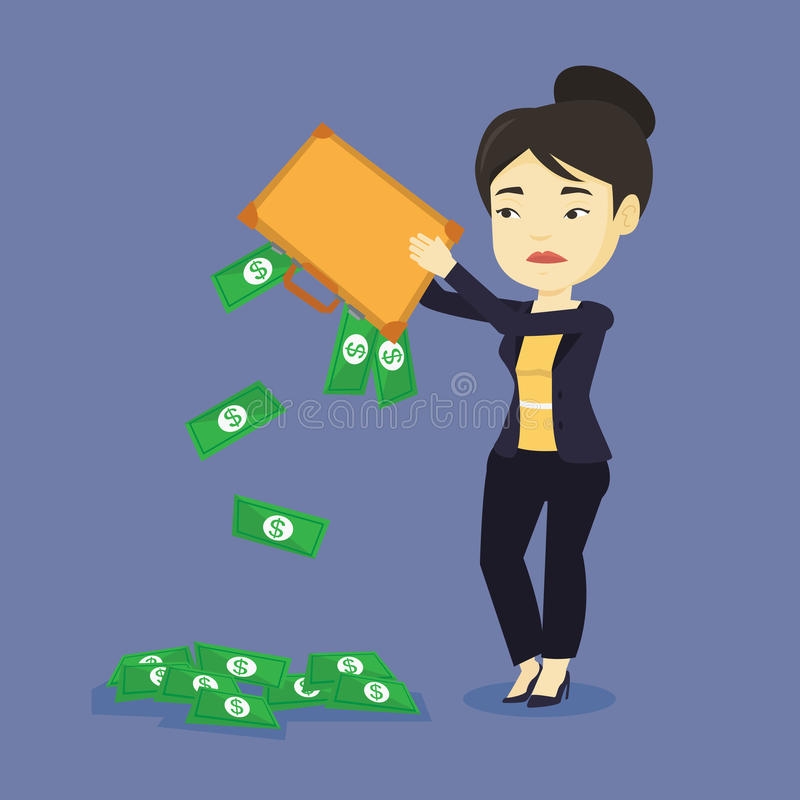 Bankrupt shaking out money from her briefcase. Depressed asian bankrupt shaking out money from her briefcase. Despaired young bankrupt business woman emptying royalty free illustration