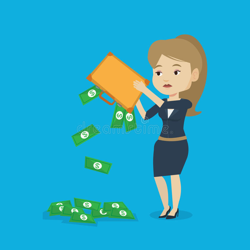 Bankrupt shaking out money from her briefcase. Depressed caucasian female bankrupt shaking out money from her briefcase. Despaired bankrupt business woman stock illustration