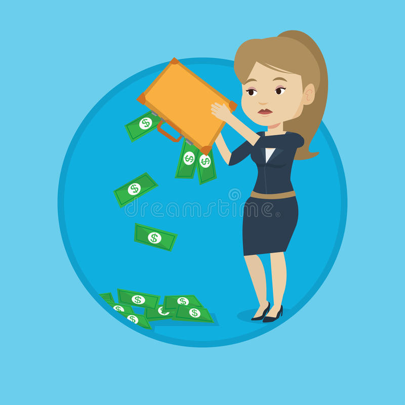 Bankrupt shaking out money from her briefcase. Depressed bankrupt shaking out money from briefcase. Despaired bankrupt business woman emptying a briefcase stock illustration