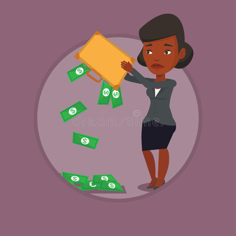 Bankrupt shaking out money from her briefcase. Depressed bankrupt shaking out money from briefcase. Despaired bankrupt business woman emptying a briefcase royalty free illustration