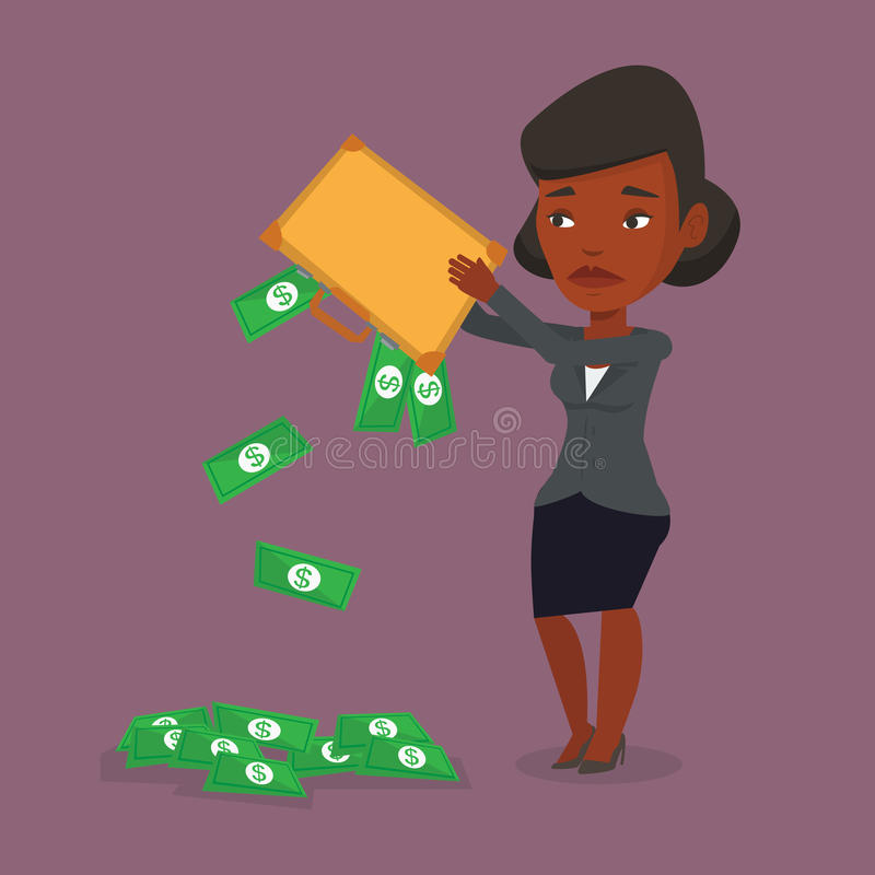 Bankrupt shaking out money from his briefcase. Depressed african-american bankrupt shaking out money from his briefcase. Despaired bankrupt business woman vector illustration