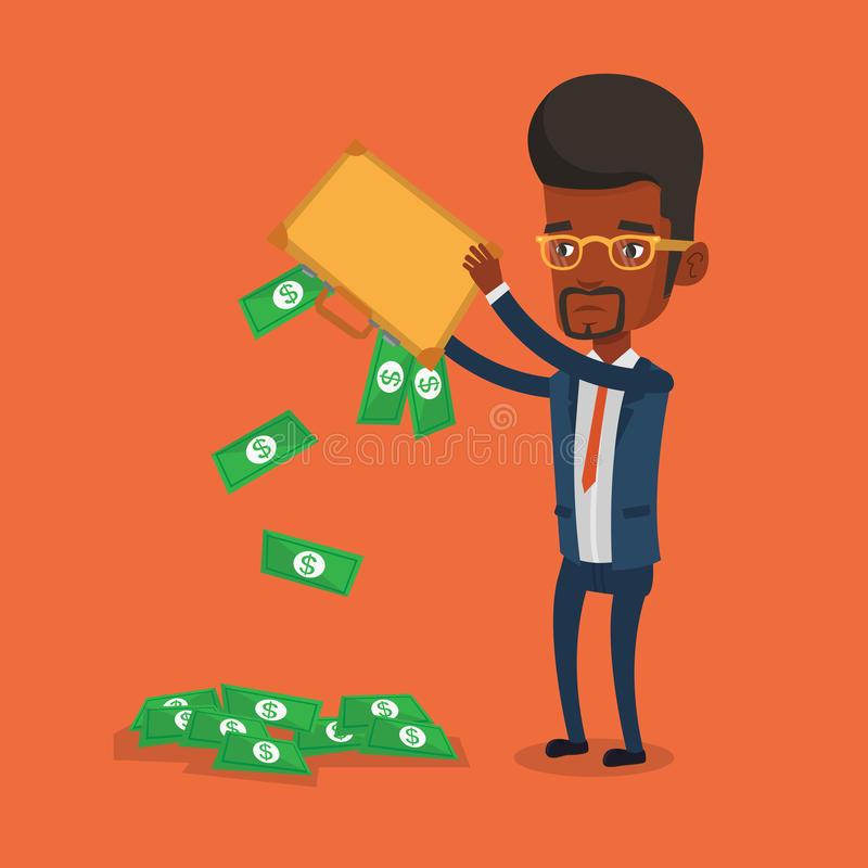 Bankrupt shaking out money from his briefcase. Depressed african-american bankrupt shaking out money from his briefcase. Despaired bankrupt businessman emptying vector illustration