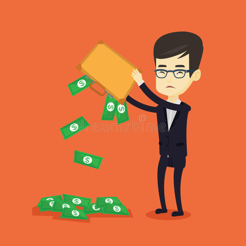 Bankrupt shaking out money from his briefcase. Depressed asian bankrupt shaking out money from his briefcase. Despaired young bankrupt business man emptying his stock illustration