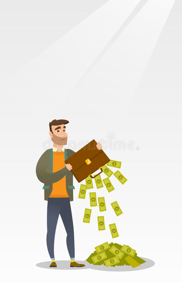 Bankrupt shaking out money from his briefcase. Depressed caucasian bankrupt businessman shaking out money from his briefcase. Despaired bankrupt businessman stock illustration