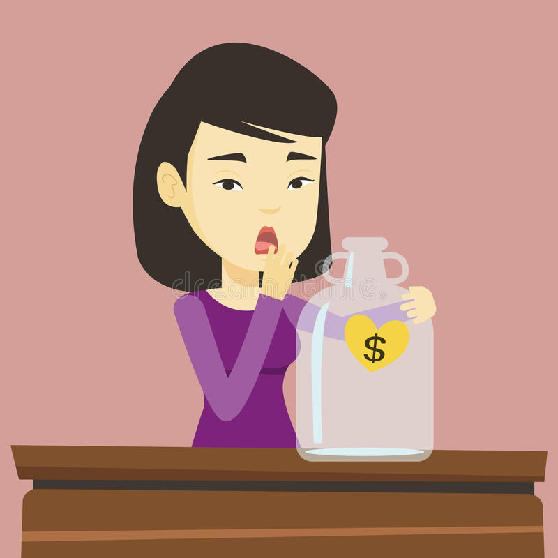 Bankrupt woman looking at empty money box. Worried business bankrupt looking at empty money box with dollar sign. Desperate bankrupt sitting at the table with vector illustration