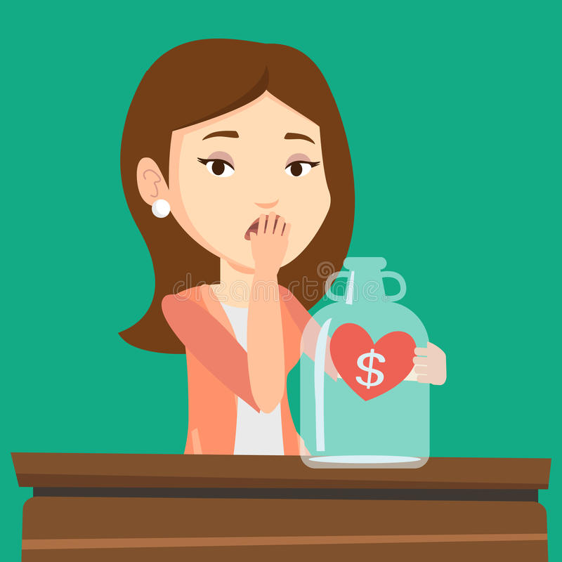 Bankrupt woman looking at empty money box. Young worried bankrupt business woman looking at empty money box. Desperate bankrupt sitting at the table with empty vector illustration