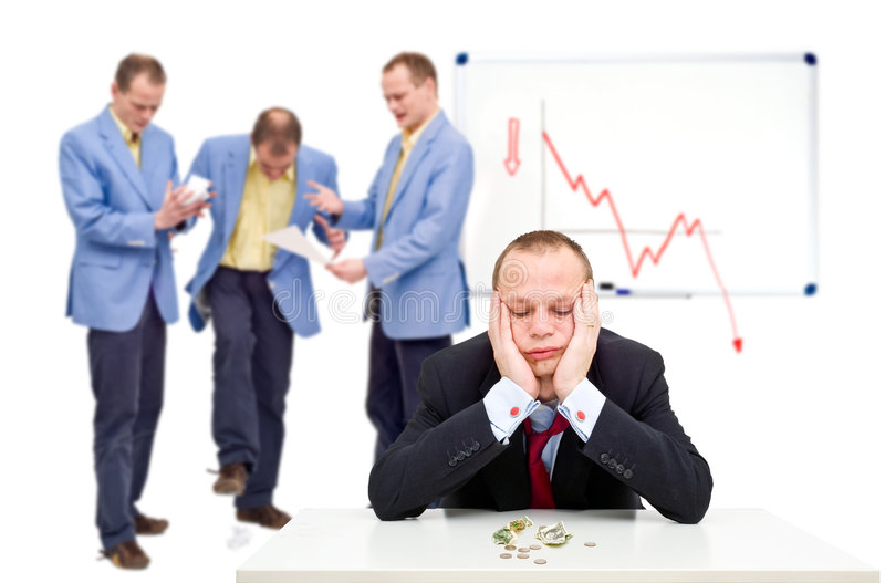 Bankruptcy. A manager having just sent his employees notice of the bankruptcy of their company, having to lay off his staff. There are more similar images in the stock images