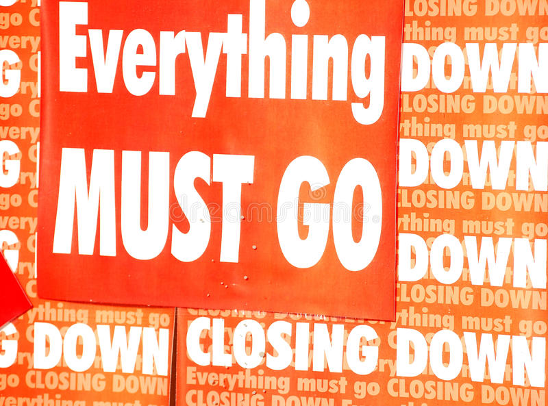 Bankruptcy. Closing down message in a bankrupt shop royalty free stock photography