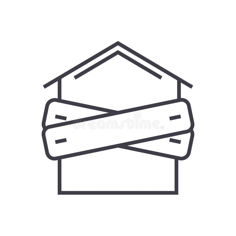 Bankruptcy,boarded-up house vector line icon, sign, illustration on background, editable strokes stock illustration