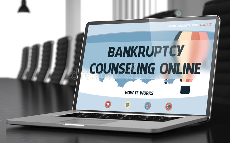 Bankruptcy Counseling Online on Laptop in Conference Hall. 3D. Closeup Bankruptcy Counseling Online Concept on Landing Page of Laptop Screen in Modern royalty free stock photo