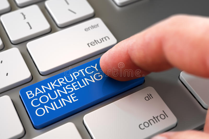Bankruptcy Counseling Online - Modern Keyboard Concept. 3D. Bankruptcy Counseling Online Concept - Modern Laptop Keyboard with Blue Keypad. 3D Render royalty free stock photography