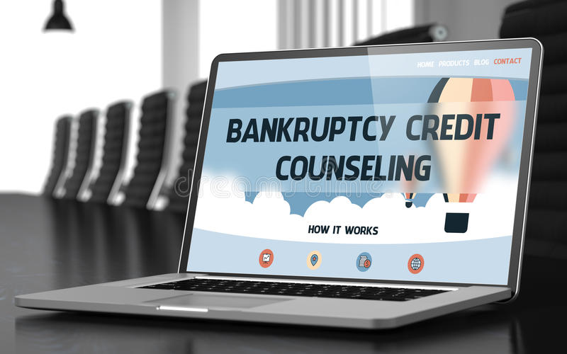 Bankruptcy Credit Counseling on Laptop in Conference Hall. 3D. stock photography
