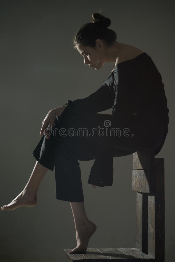 Bankruptcy and crisis. better to die. Beauty and fashion. Woman with trendy look. Solitude. Modern girl, oneliness royalty free stock photo