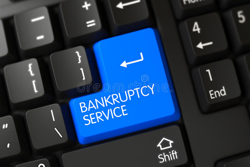 Bankruptcy Service - Modernized Button. 3D. A Keyboard with Blue Key - Bankruptcy Service. 3D Render royalty free stock photography