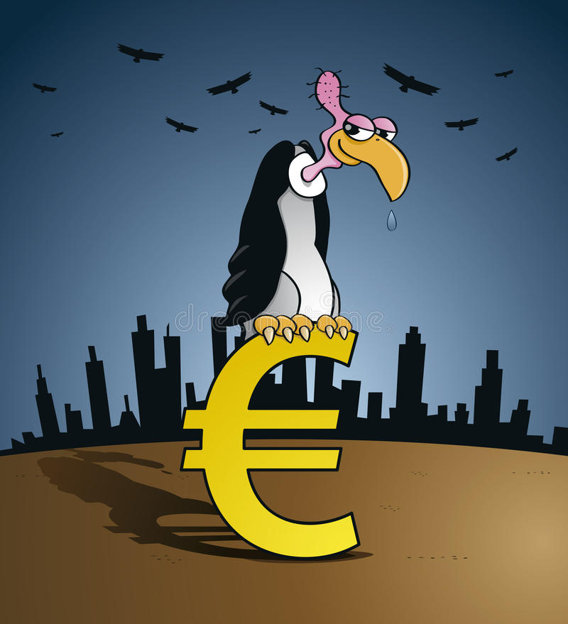 Download Bankruptcy Vulture Sitting On An Euro Currency Sign Stock Vector - Image: 28731342