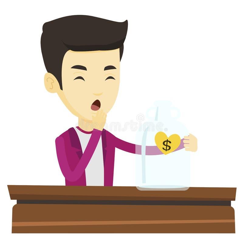 Bankrutujący mężczyzna patrzeje pustego pieniądze pudełko ilustracja wektor