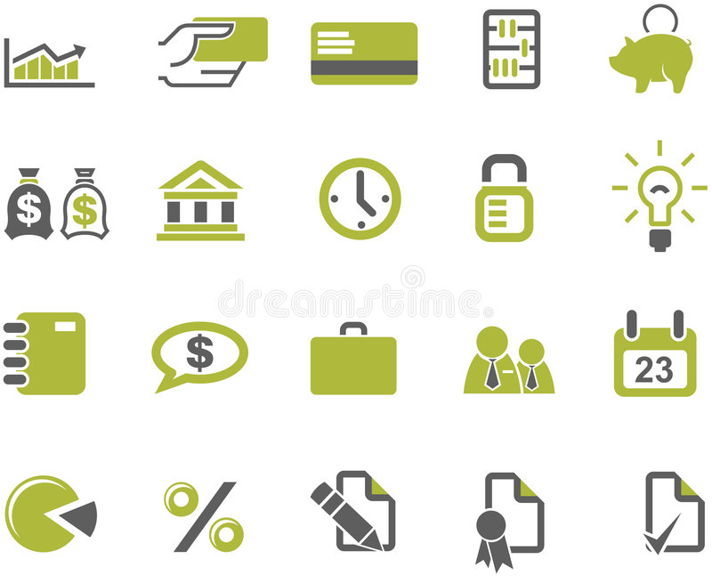 Banks and business icons set. Banks, finances, Market and business icons set