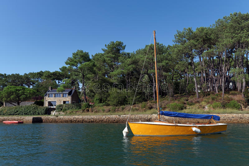 Crac`h river in Morbihan coast stock photos