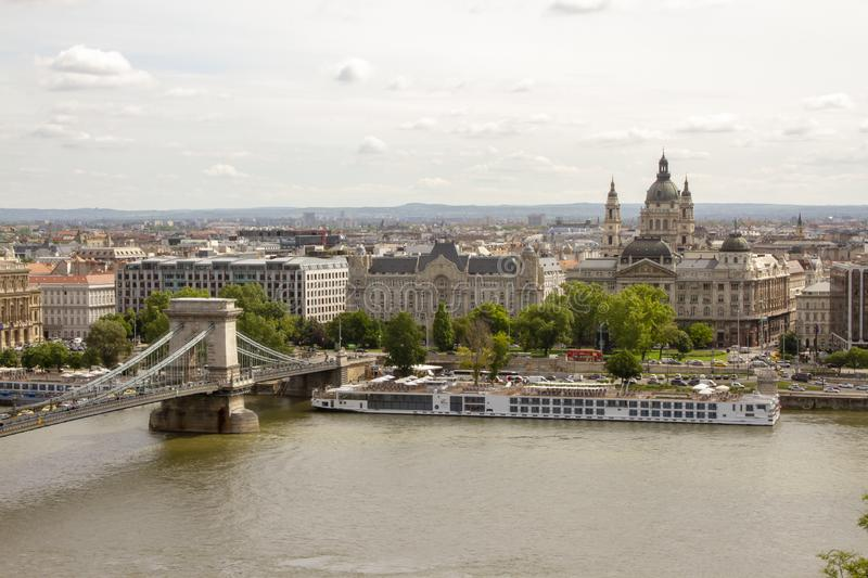 Banks of Danube River in Budapest Hungary stock photography