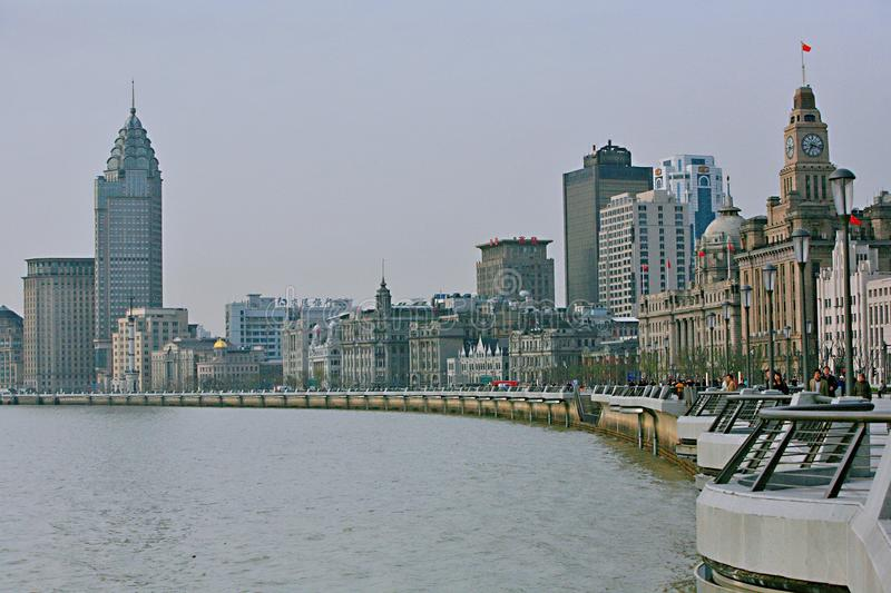 The riverside of the Whampoa River in Shanghai. On the banks of the Huangpu River, the Bund and Lujiazui are opposite and blend. One side is the landmark stock photo