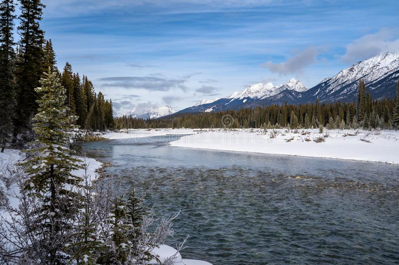 Banks of the Kootenay River in British Columbia Canada in Kootenay National Park during winter. Snow capped mountains in distance.  royalty free stock images
