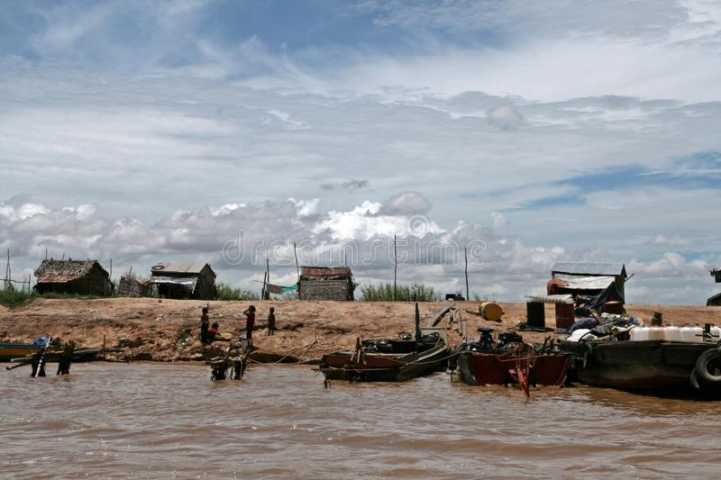 Banks of Tonle Sap Lake - Cambodia. Banks of Tonle Sap Lake near Siem Reap in Cambodia. One of the poorest area's with in Cambodia stock images