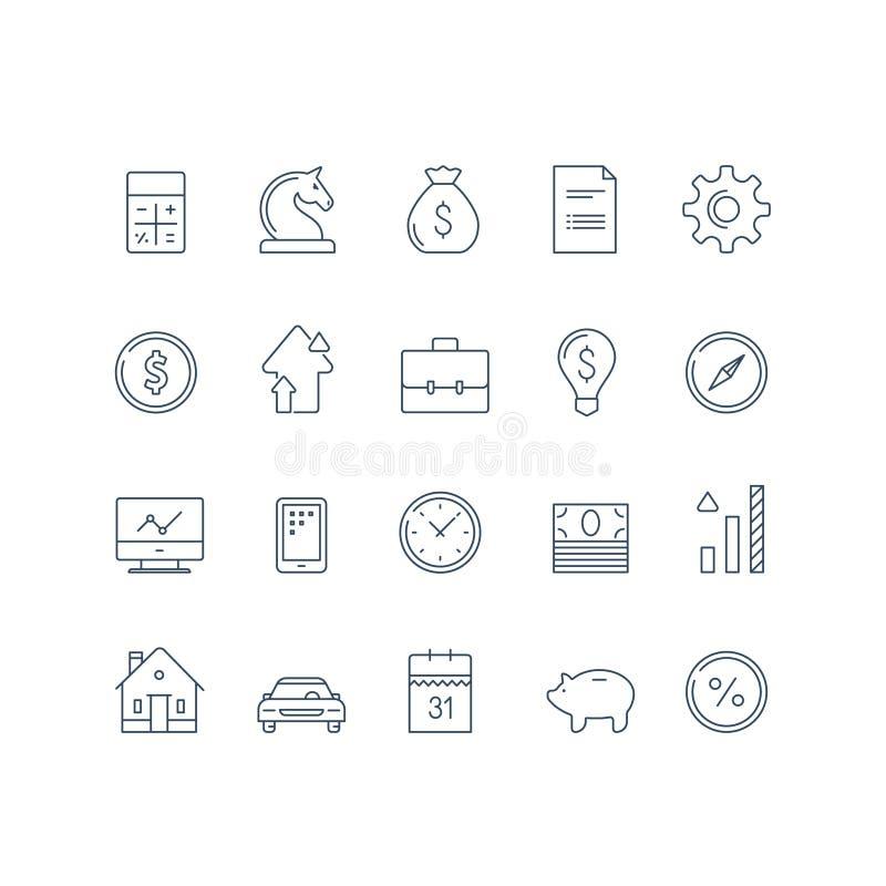 Bankservice, den finansiella objektuppsättningen, inkomsttillväxt, räntesatsen, bilbetalning, kostnadsberäkningen, hus intecknar, stock illustrationer