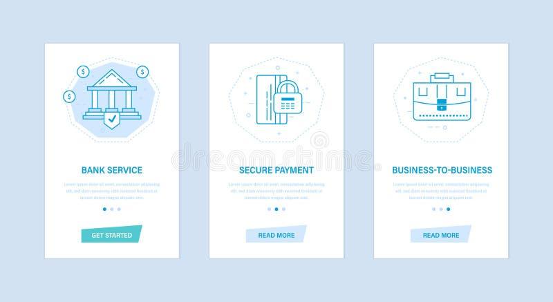 Bankservice, säker betalning, affär-till-affär Användargränssnitt skärmtelefoner stock illustrationer